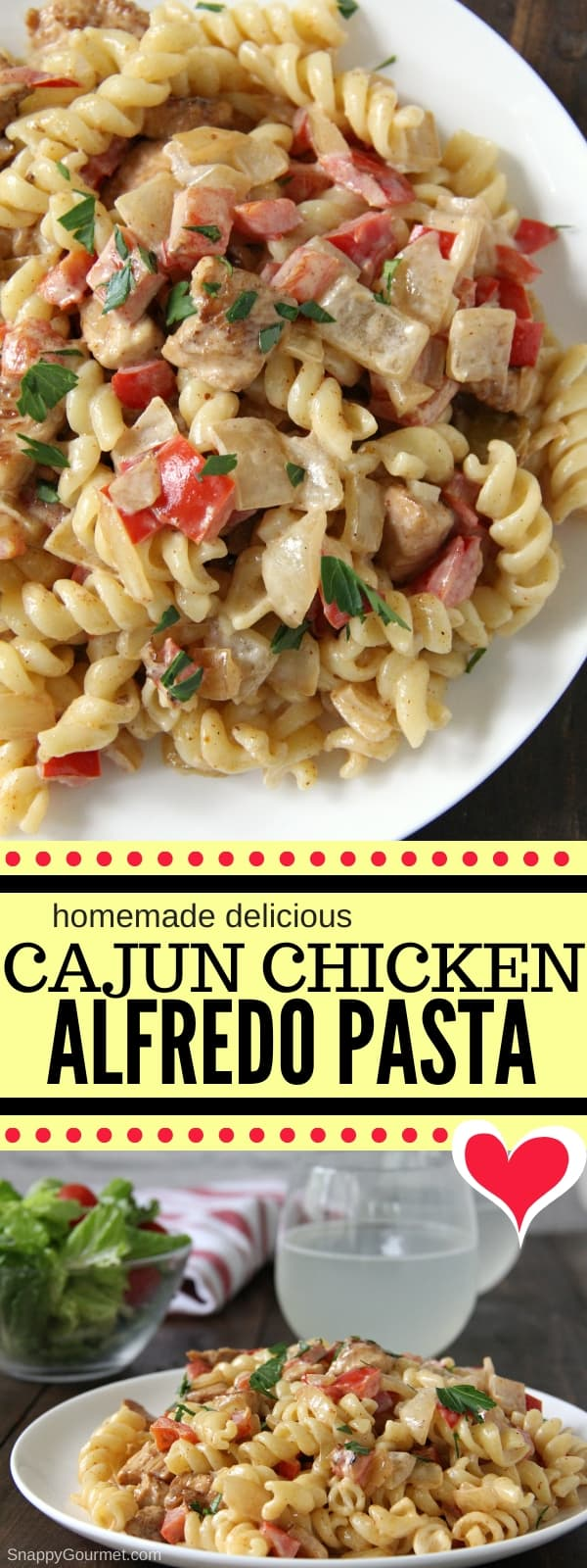 Cajun Chicken Alfredo Pasta recipe collage