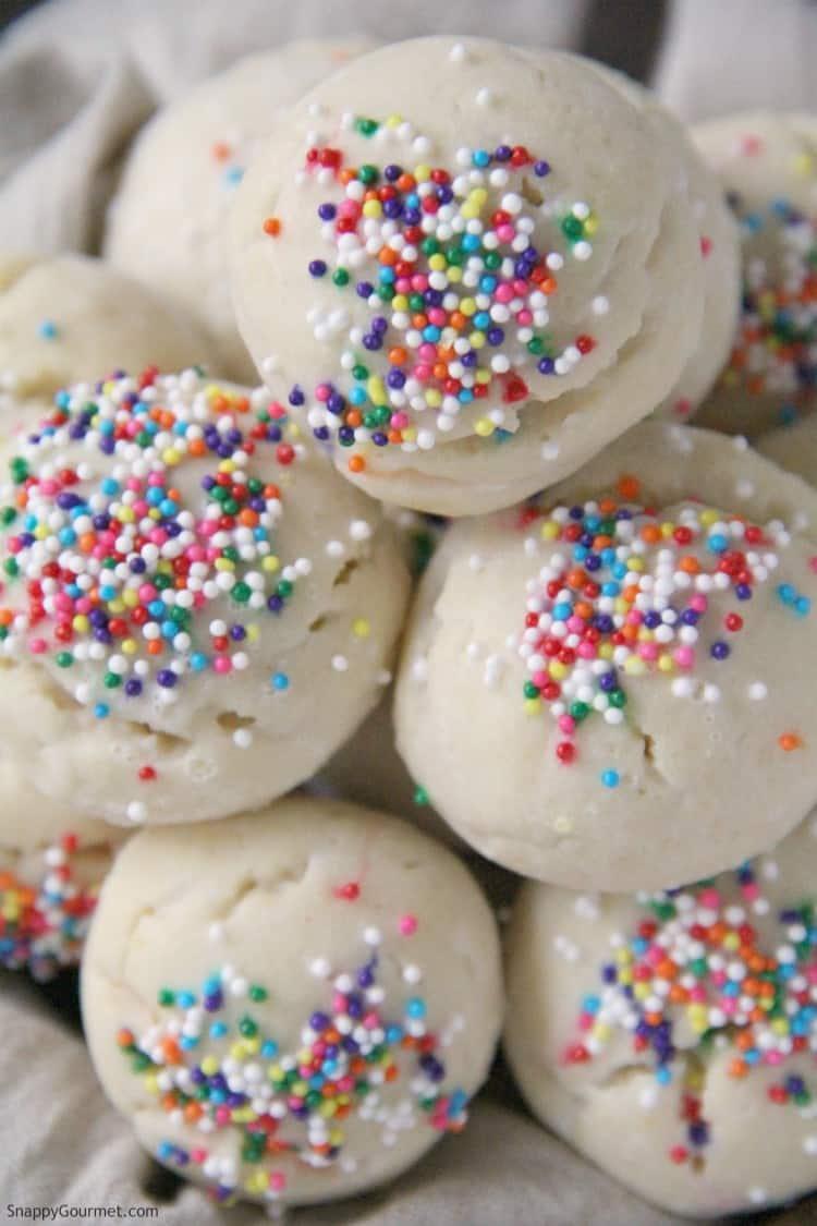 closeup of Italian Sprinkle Cookies