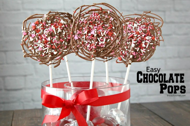 chocolate candy pops with red and pink sprinkles
