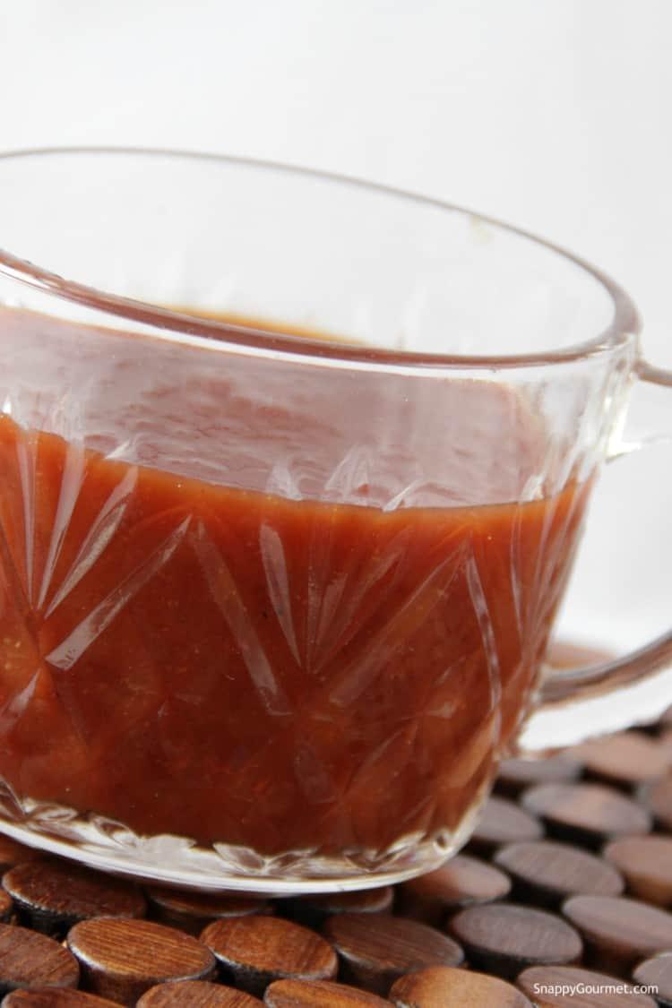 root beer bbq sauce in glass
