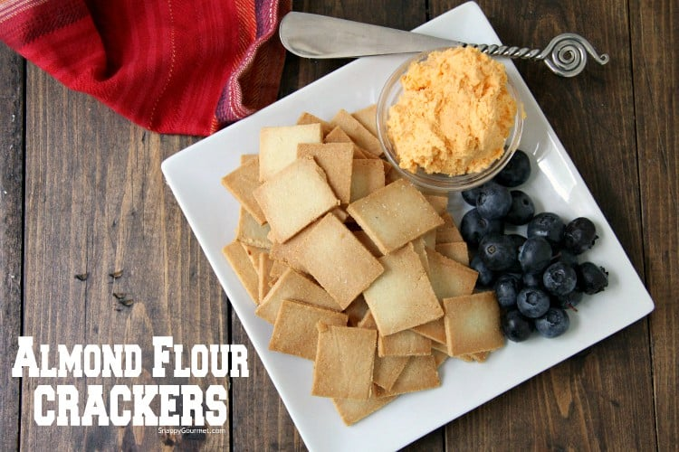 Almond Flour Crackers on plate with cheese and knife