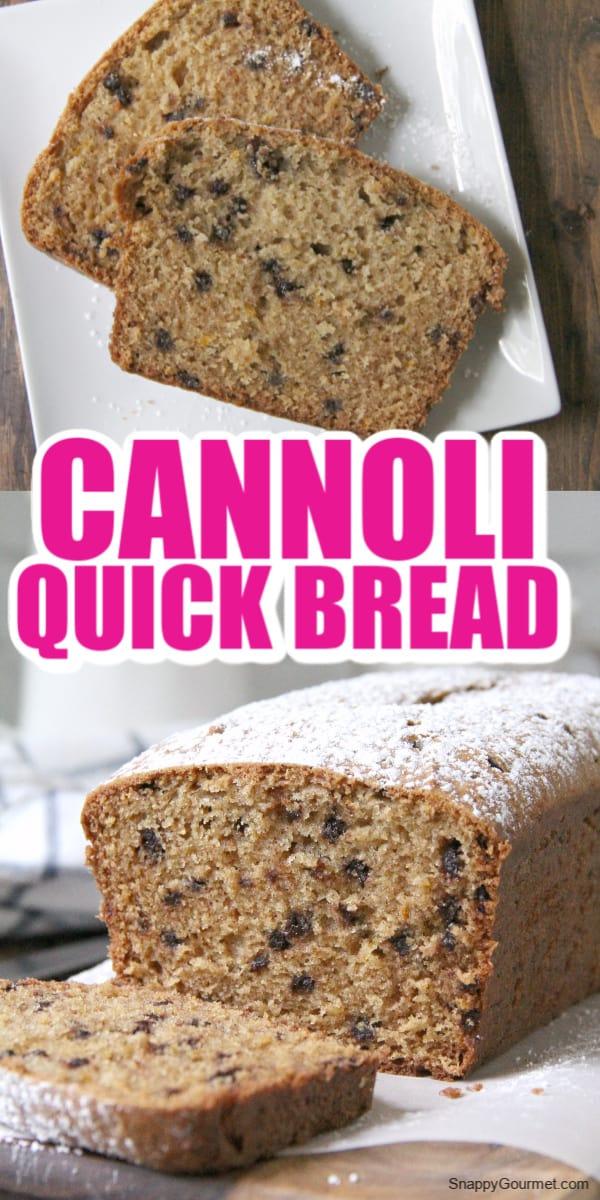 collage of cannoli bread