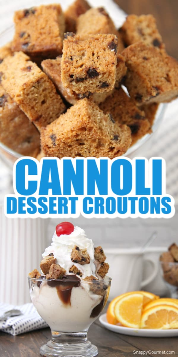 collage of cannoli croutons