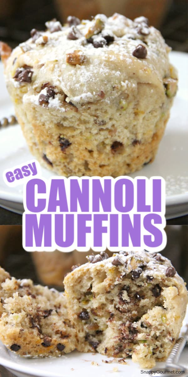 Collage of Cannoli Muffins