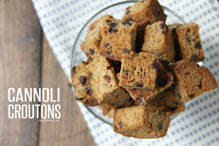 cannoli croutons in glass bowl