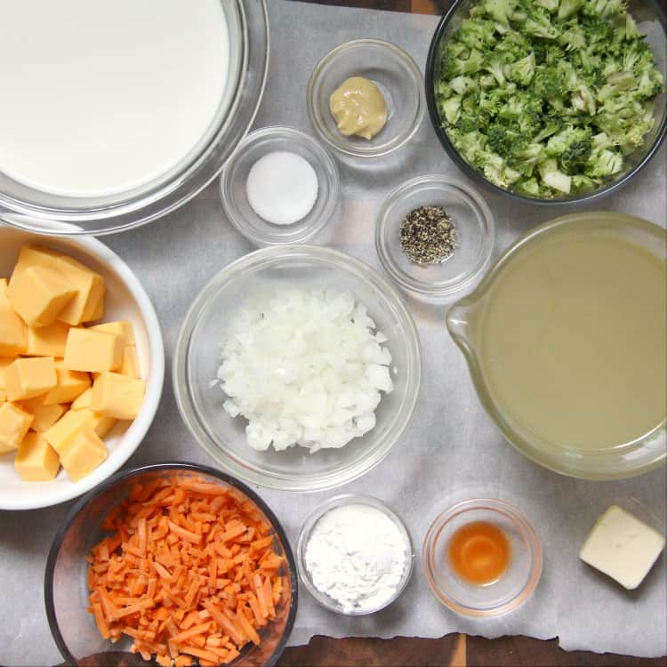 Broccoli Cheddar Soup ingredients