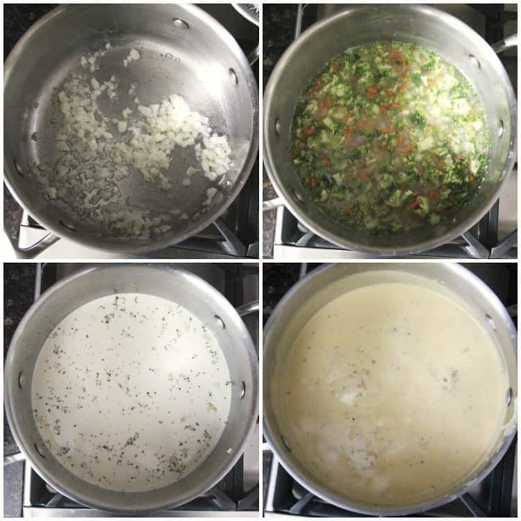 collage of steps of soup in pan