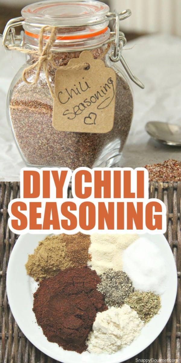 collage of chili seasoning