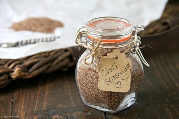 homemade chili seasoning in jar