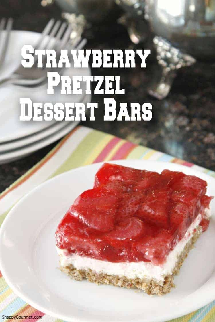 Strawberry Pretzel Dessert Bar on plate