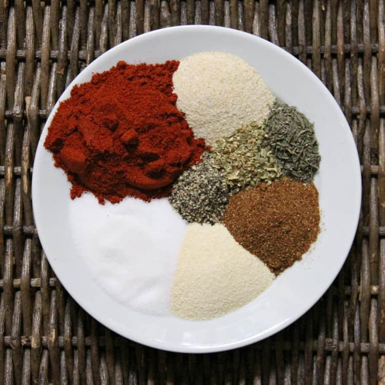 ingredients for blackened seasoning on plate
