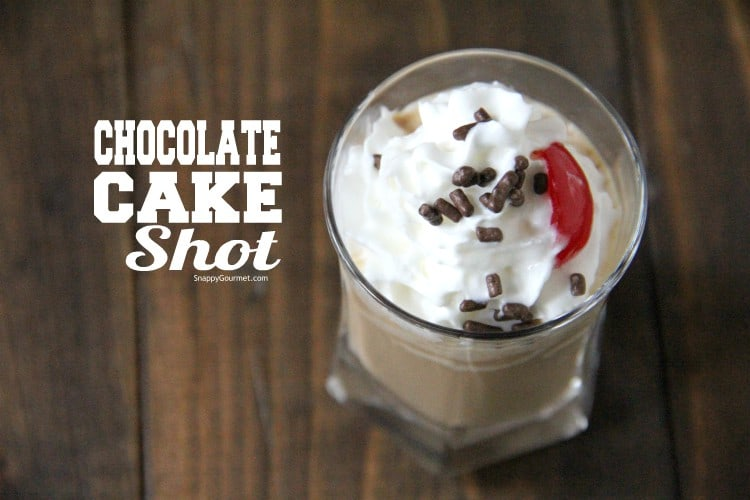 Chocolate Cake Shot in shot glass with whipped cream and sprinkles