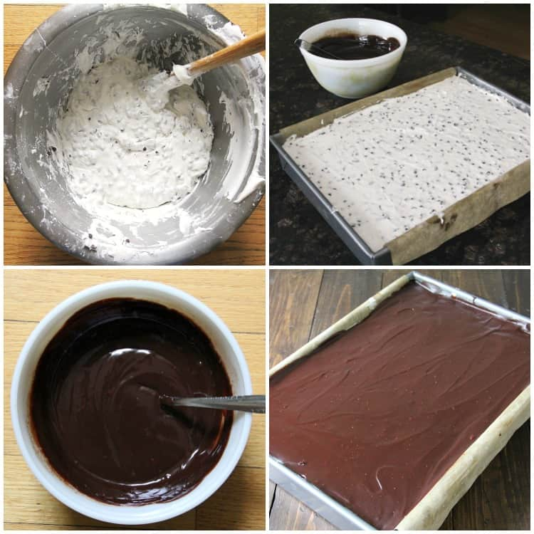 marshmallow frosting and chocolate ganache topping
