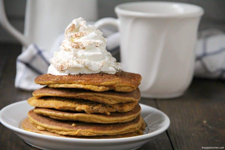 almond flour pumpkin pancakes on plate