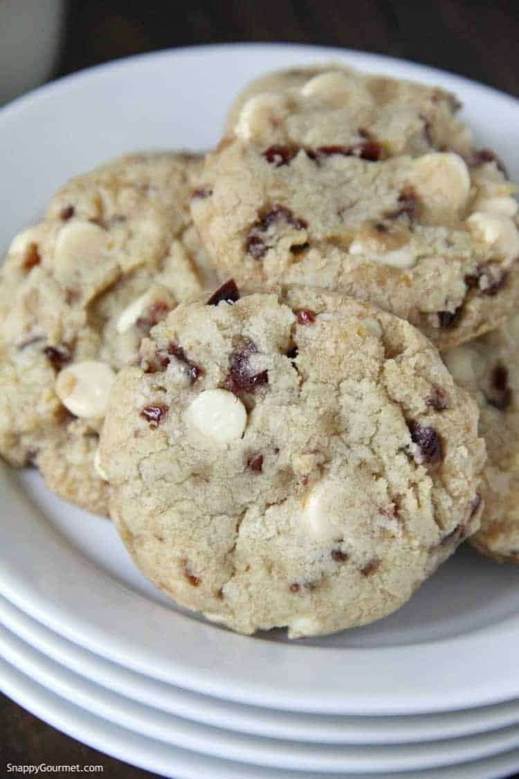 closeup of white chocolate cranberry cookies on plate