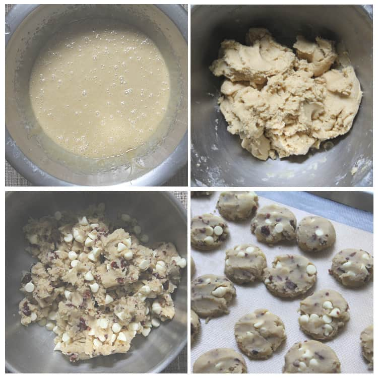 how to make white chocolate cranberry cookies steps