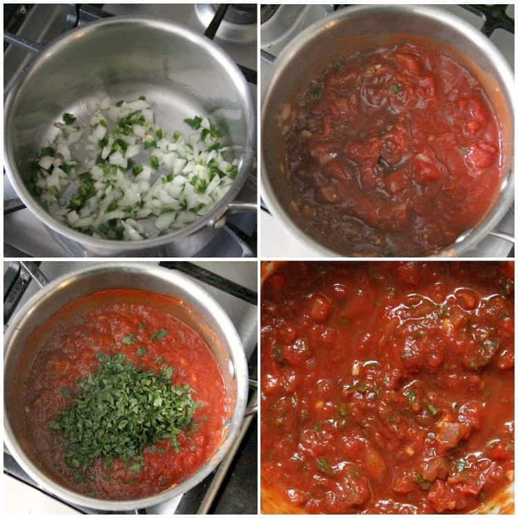 pan with freezer salsa ingredients including canned tomatoes