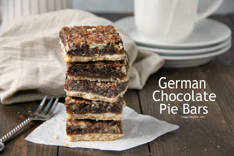 stacked German Chocolate Pie Bars with pecans and coconut
