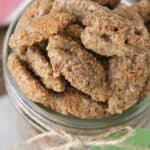 Gingersnap Roasted Candied Pecans in mason jar