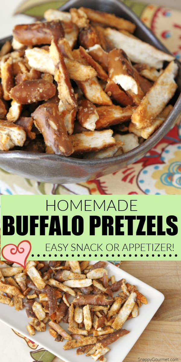 collage of homemade buffalo pretzels