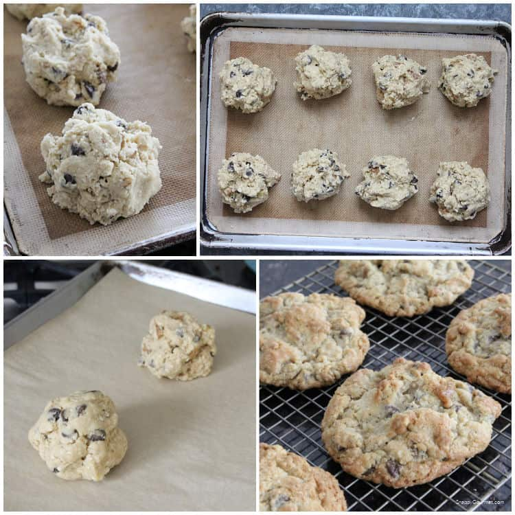 collage of steps to make Oatmeal Walnut Chocolate Chip Cookies