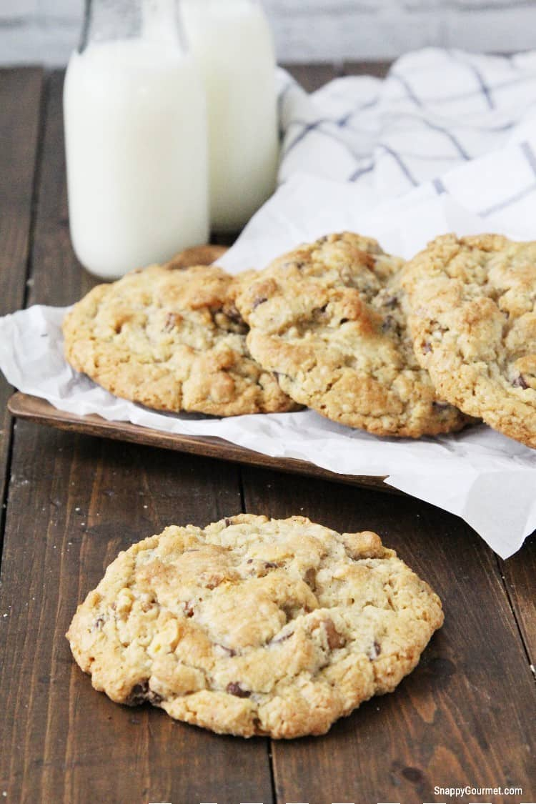 jumbo chewy chocolate chip cookies with glass of milk