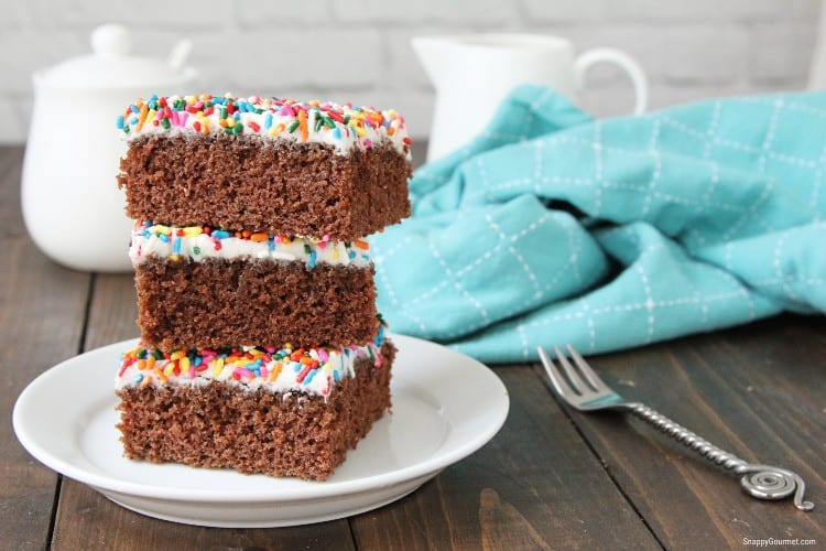 stacked birthday brownies on plate