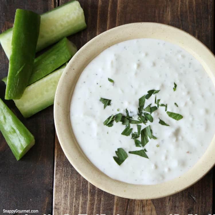 homemade tzatziki yogurt sauce in bowl