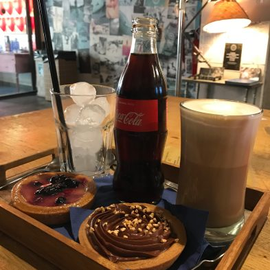 Yummy pastries in a cafe as we sheltered from the rain