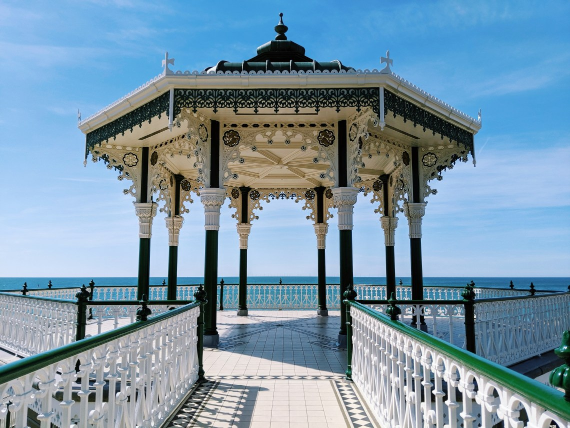 brighton band stand close up blue sky in june 2019