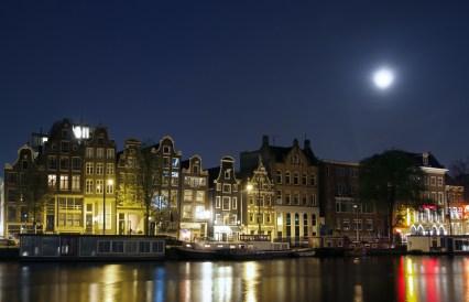 Canal promenade at night