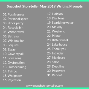 "Snapshot Storyteller | ""May 2019 Writing Prompts"" 
