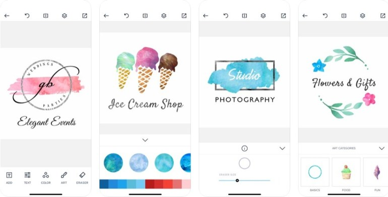 aplikasi pembuat logo di iphone water color logo maker