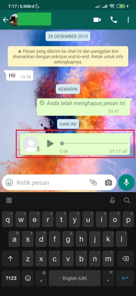 pilih chat menghapus pesan wa