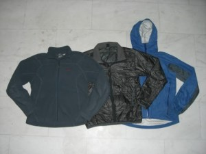 Fleece jacket, synthetic puffy jacket, and rain shell