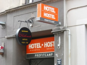 Awkwardly positioned and shamelessly titled hostel, Riga, Latvia