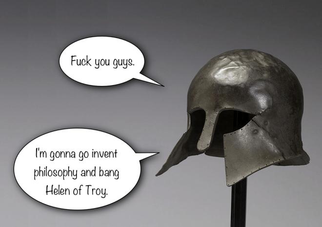 Angry Corinthian helmet