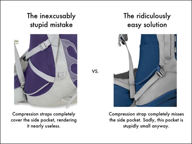 Side pocket compression straps