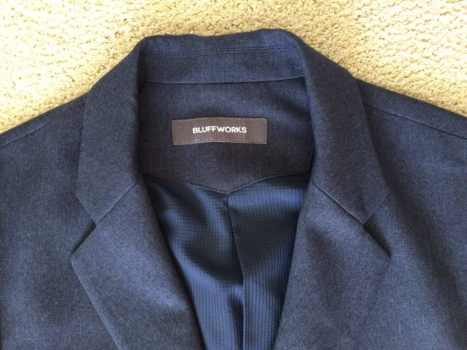 Bluffworks blazer lapel close up