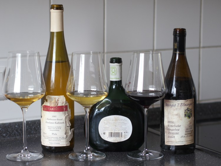 Three wines with glass samples
