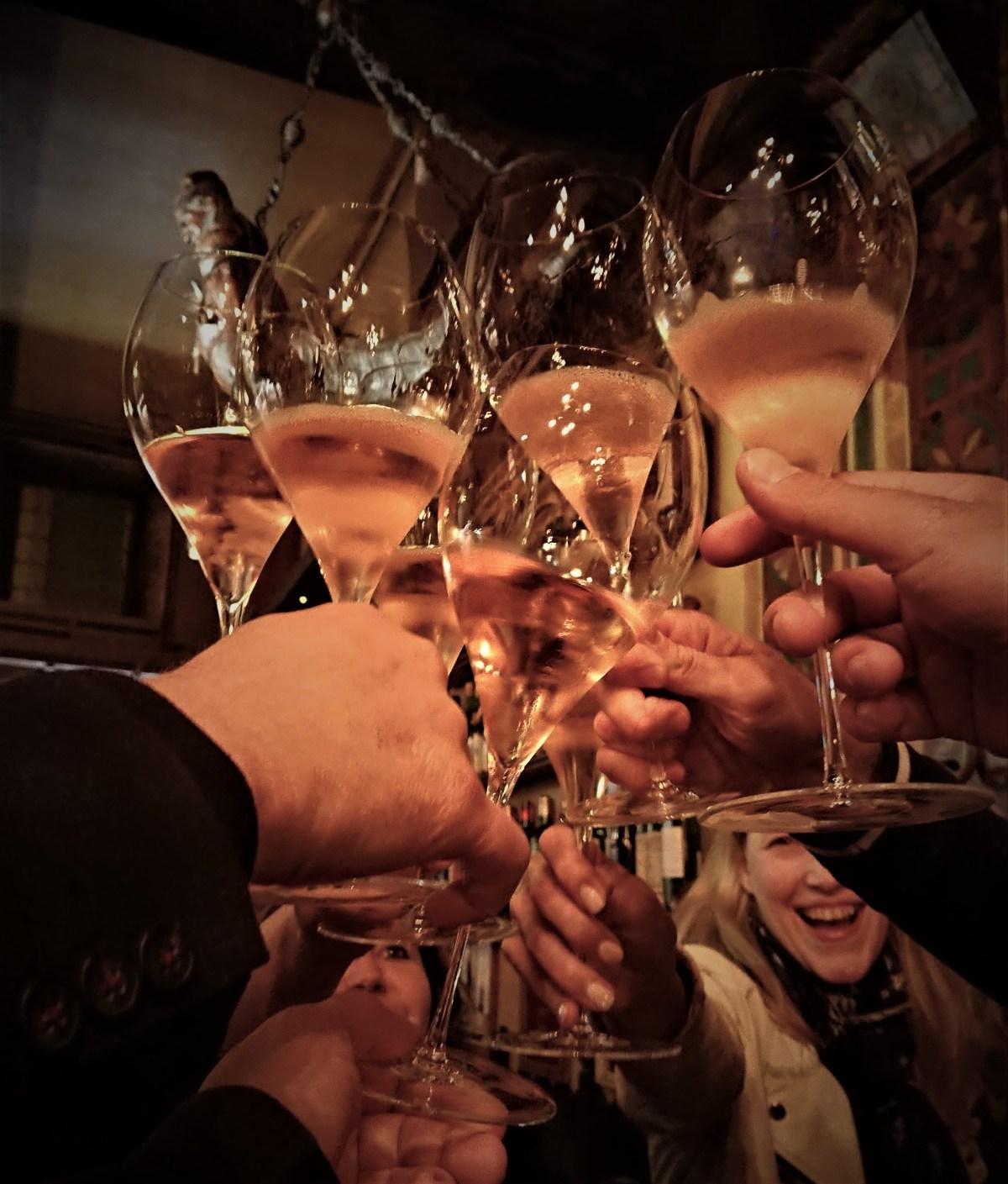 Sparkling wine being enjoyed