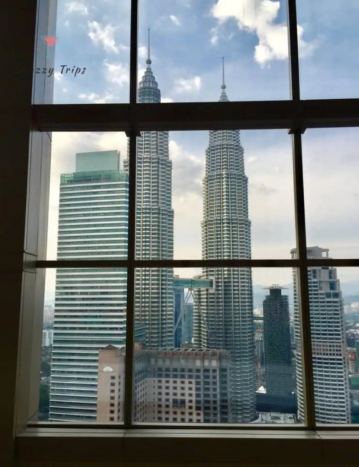 view of skyscrapers from window
