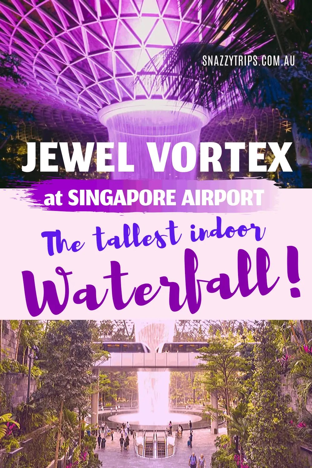 indoor waterfall at Singapore Airport