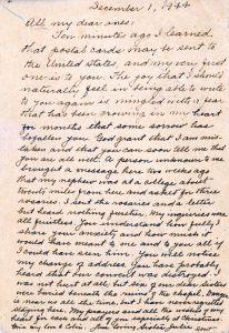 Sr. Julie de la Ste. Famille letter 1944 edited