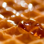 SND Bourbon Barrel Aged Maple Syrup on waffles