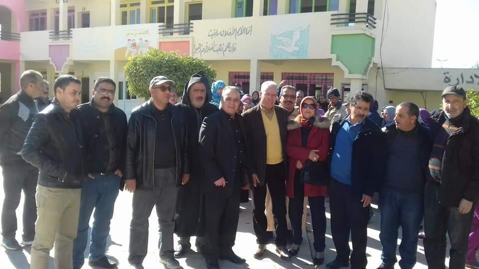 زيارة تفقدية لوفد من النقابة الوطنية للتعليم لمدرسة بني مرين بتازة