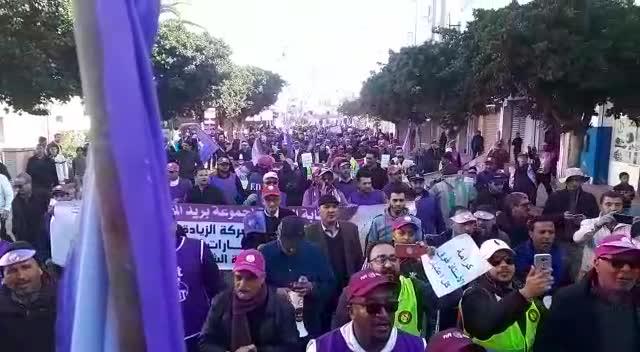 من شعارات الفيدرالية الديمقراطية للشغل في المسيرة الجهوية لجهة الدار البيضاء سطات بالجديدة