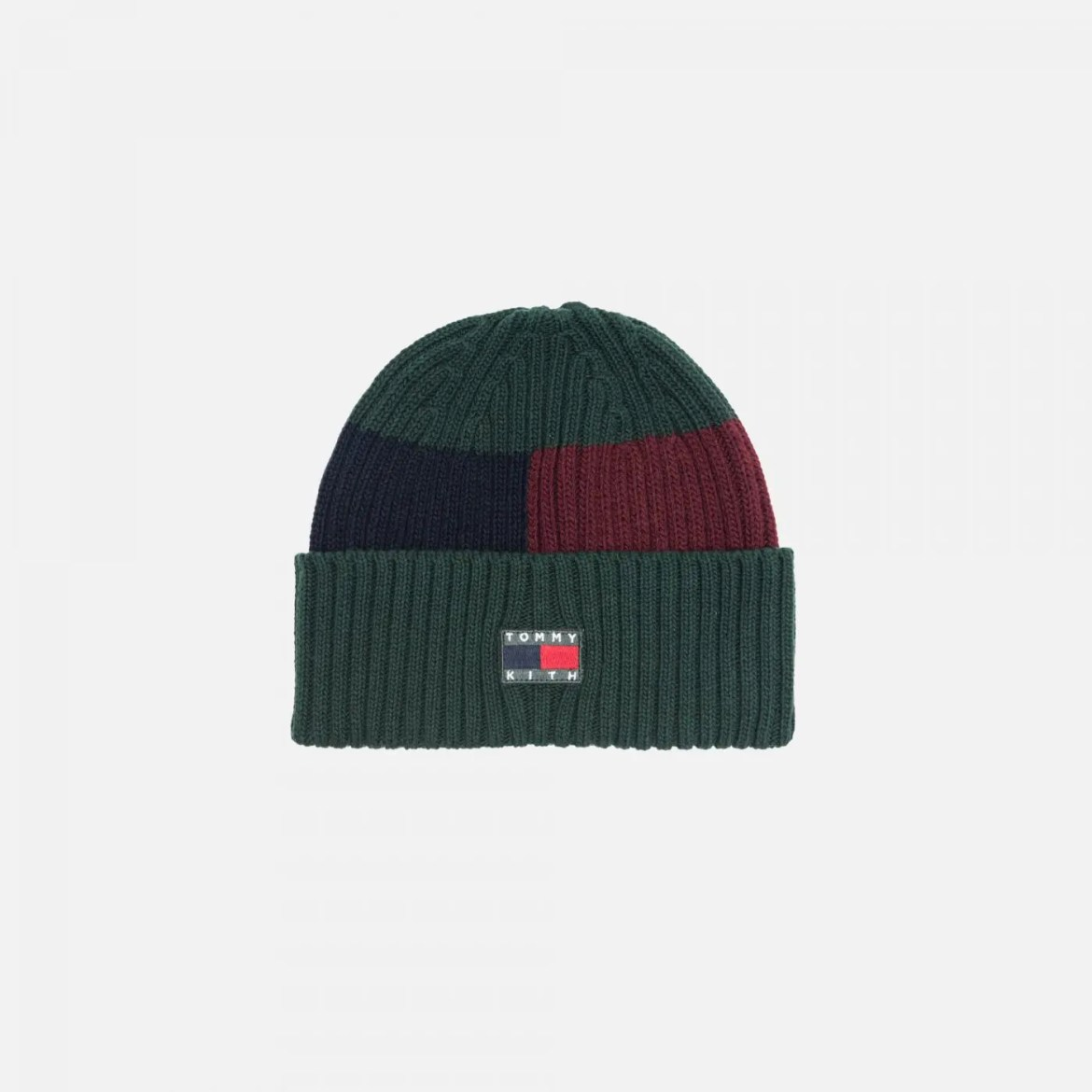 KITH X TOMMY HILFIGER FLAG BLOCK BEANIE FOREST / BURGUNDY / NAVY