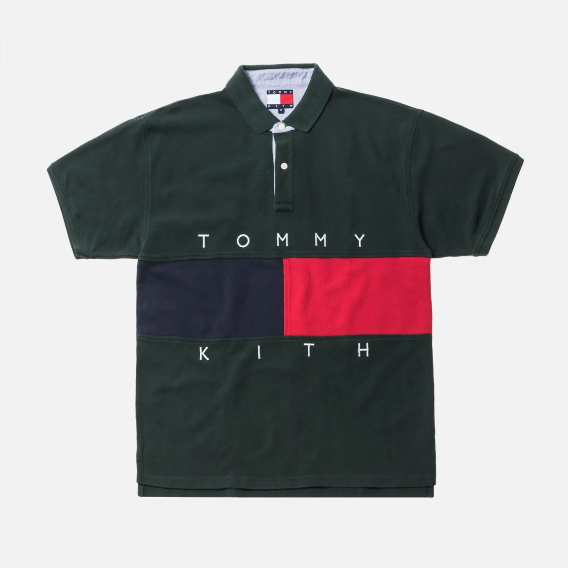 KITH X TOMMY HILFIGER FLAG S/S POLO - FOREST