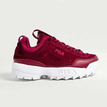 FILA-Disruptor-II-Premium-Red-Velour-Trainers